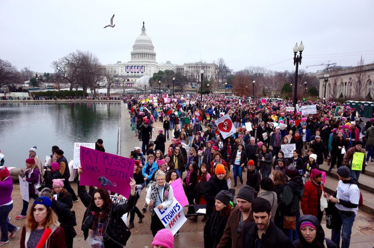 Women and supporters gather at the U.S. Capitol for the Women's March on Washington on Jan. 21, 2017