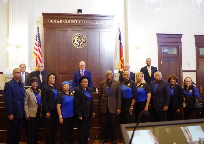 County Commissioners and members of the NAACP San Antonio chapter gather after the grant announcement on Tuesday, Jan. 24, 2017.