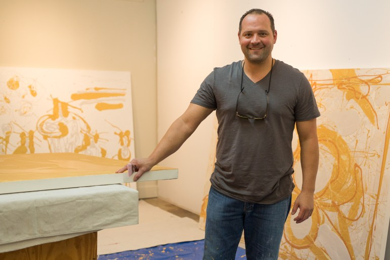 AJ Rodriguez poses for a portrait with his new body of work titled 'Figuras'.