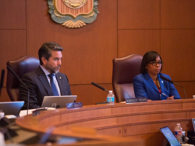 Mayor Ivy Taylor (right) leads the council session involving the 2017 municipal bond.