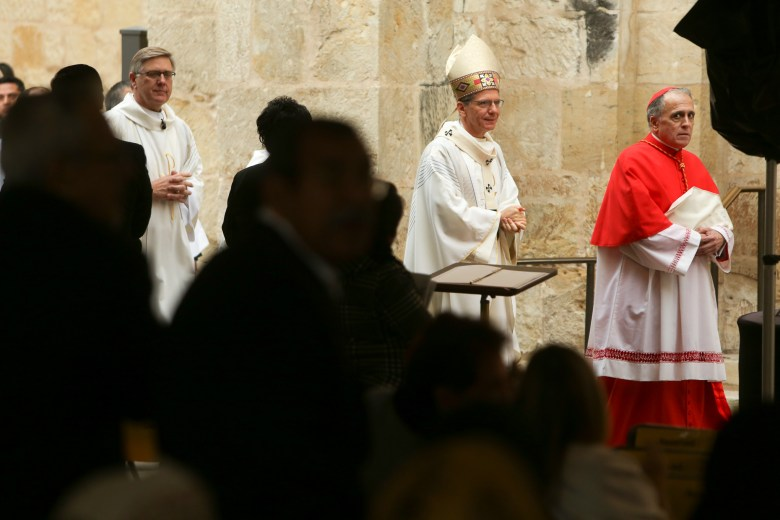 (right to left) Cardinal and Archbishop of Houston-Galveston Daniel DiNardo and San Antonio Archbishop Gustavo Garcia-Siller arrive to San Fernando Cathedral for the services of Archbishop Patrick Flores.