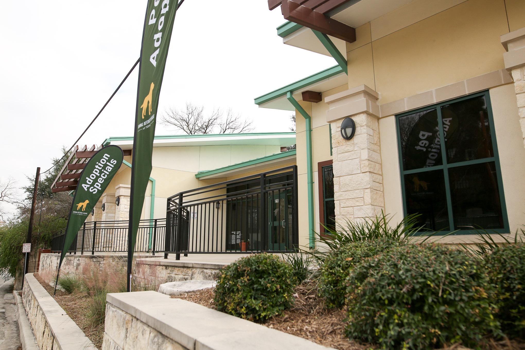 The Animal Defense League now occupies the Paul Jolly Adoption Center at 210 Tuleta Drive across the street from the San Antonio Zoo in Brackenridge park.