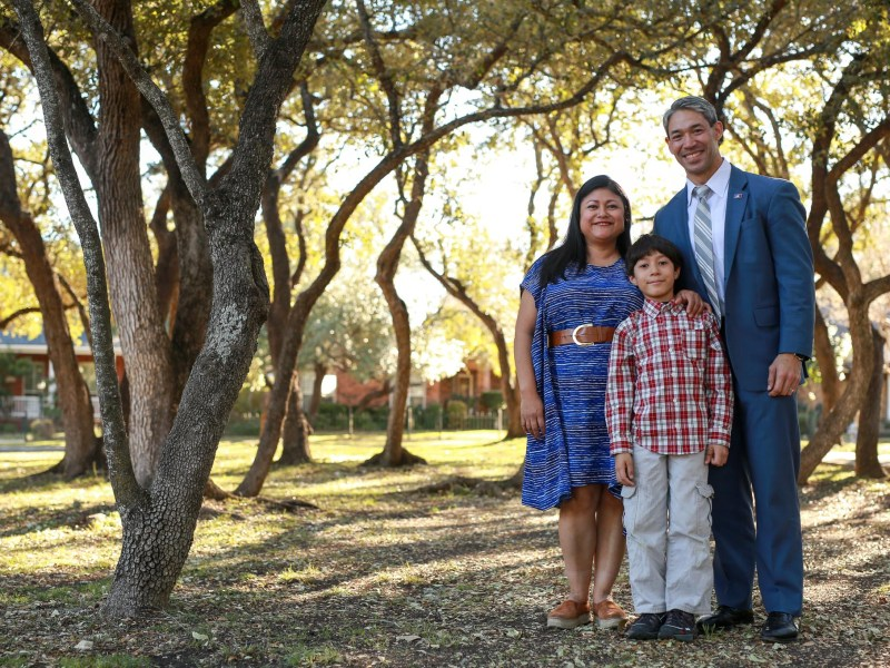 Ron Nirenberg with his wife Erika and 8-year-old son Jonah.