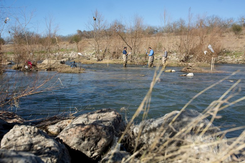 San Antonio River Authority Aquatic Biologists test water conditions routinely before any other tests or research is done.
