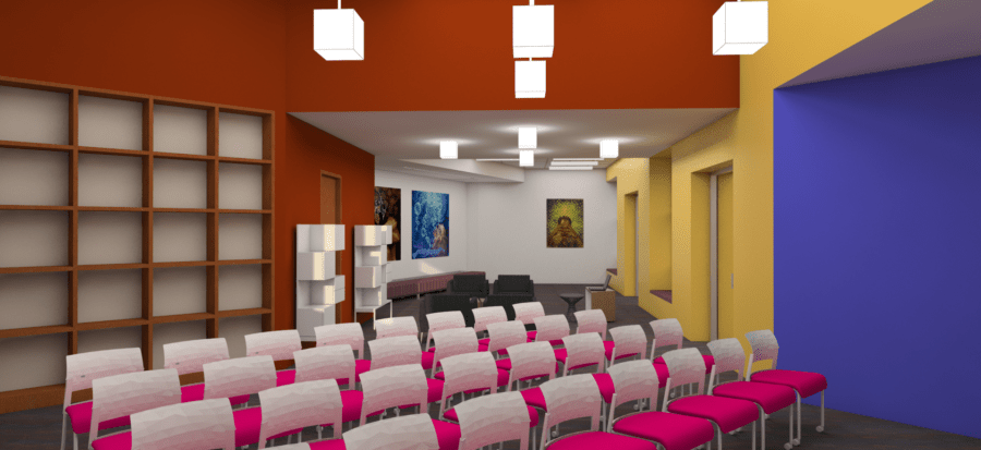 This rendering shows the Latino Collection programming area, where workshops, author readings, and other activities will take place.
