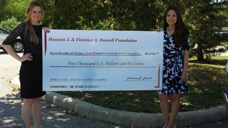 From left to right: Lauren Cornell and Bianca Cerqueira are co-founders of NovoThelium, a San Antonio-based biotechnology startup company. The $5,000 check is an award from the 2016 Women's Startup Pitch Competition hosted by Texas Woman's University and the Governor's Business Forum for Women provided by a donation from the Houston J. and Florence A. Doswell Foundation.