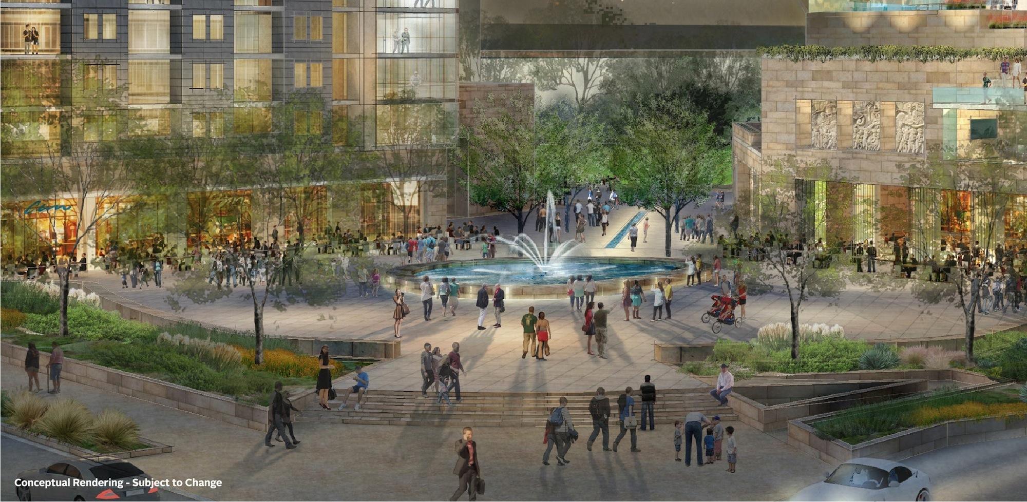 Preliminary rendering of Source Plaza in Hemisfair Park.