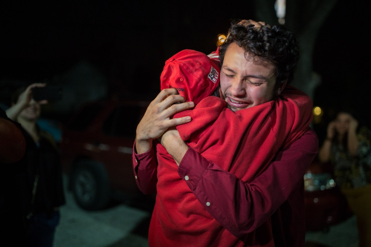 Josué Romero reunites with his father José Francisco Romero after being detained by ICE and driven to a detention center.