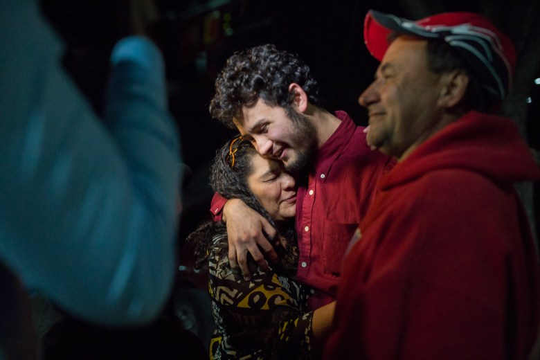 Josué Romero embraces his mother Norma Velasquez after being released by ICE custody.