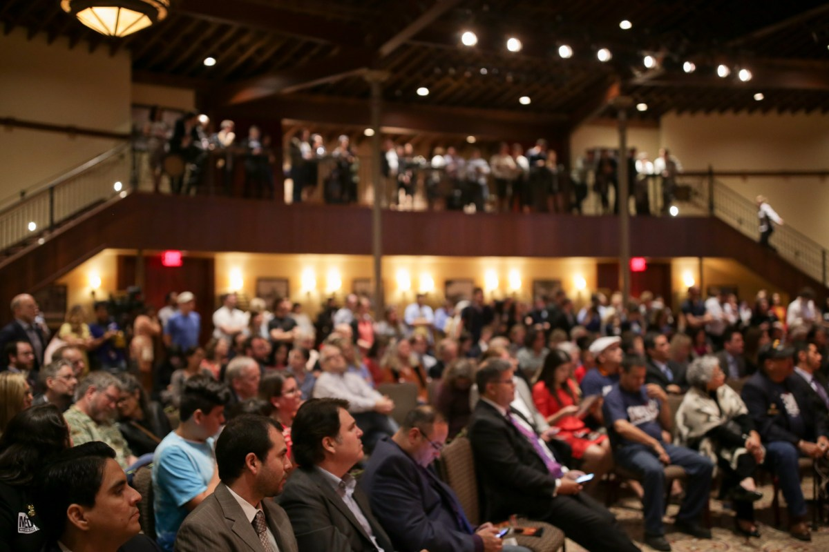 The Pearl Stable held a full house for the Mayoral Town Hall.