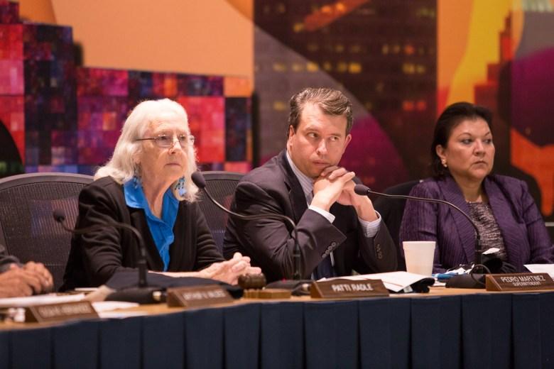 (left to right) SAISD Board President Patti Radle, SAISD Superintendent Pedro Martinez, and SAISD Trustee Debra Guerrero.
