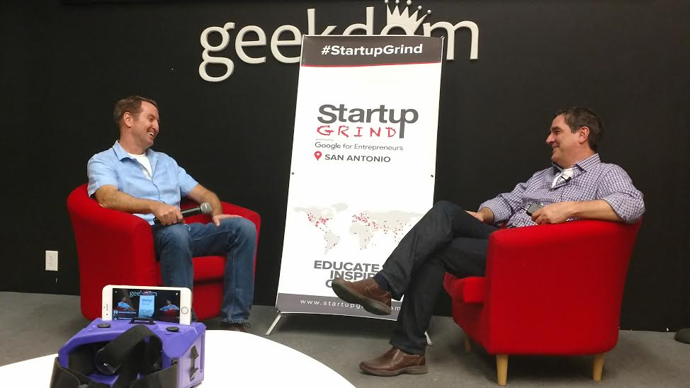 Mike Troy (left) interviews Andrew Trickett, co-founder of Merge VR, during 2017 San Antonio Startup week.