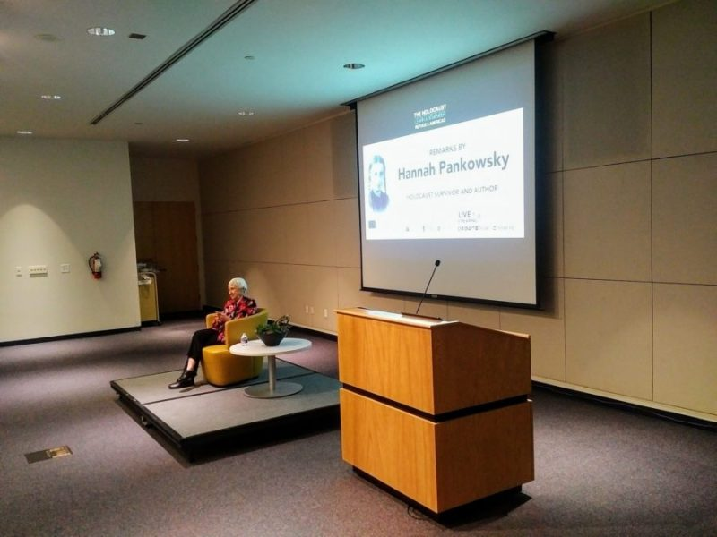 Holocaust survivor Hannah Pankowsky shares her experiences with guests at the San Antonio Central Library.