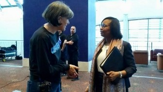 Mayor Ivy Taylor (right) speaks with SAWS Education Coordinator Lynne Christopher at the 2017 Confluence event.