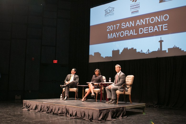 Mayoral Candidates, from left, Chairman Manuel Medina, Mayor Ivy Taylor, and Councilman Councilman Ron Nirenberg await questions at the San Antonio Mayoral Debate on March 2.