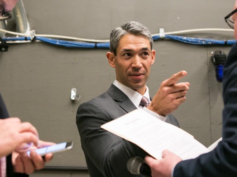 Councilman Ron Nirenberg prepares behind the scenes before the San Antonio Mayoral Debate on March 2.