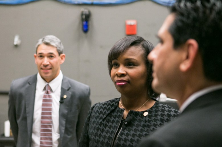 Mayoral Candidates, from left, Councilman Ron Nirenberg, Mayor Ivy Taylor, and Chairman Manuel Medina gather before the San Antonio Mayoral Debate on March 2.