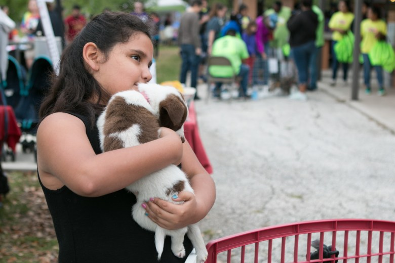 Xanath, 7, cuddles with the puppies for adoption at the 5th Annual Bark in the Park – Perrito Grito in Rosedale Park.
