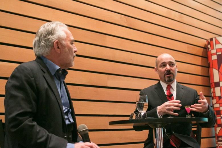 Urban3 Principal Joe Minicozzi, AICP (right) answers audience questions directed by Rivard Report Director Robert Rivard.