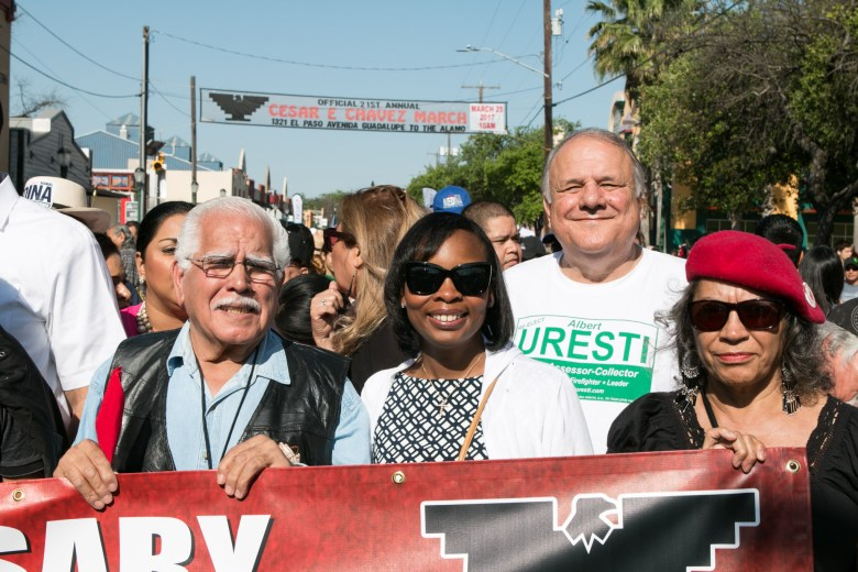 Mayor Ivy Taylor (center) smiles before marching in the Official 21st Anniversary Cesar E. Chavez March For Justice.