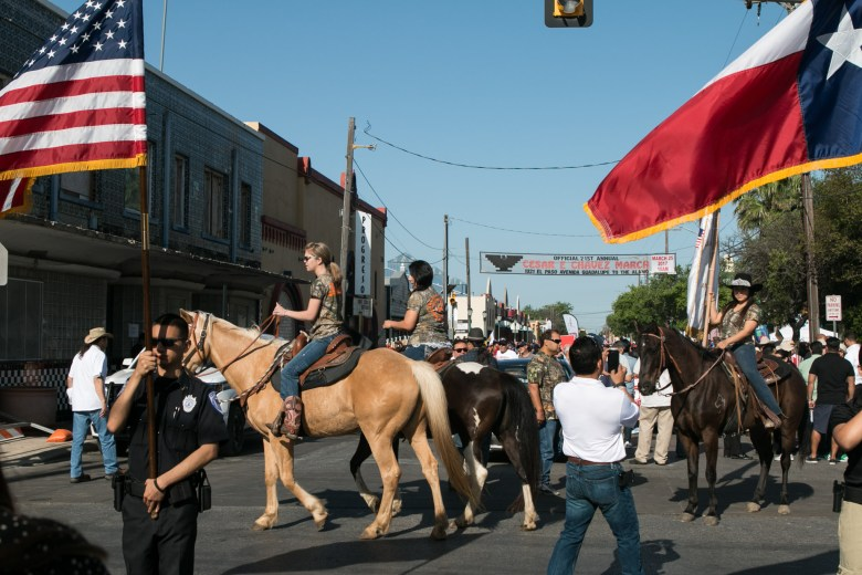Horses line the streets before the Official 21st Anniversary Cesar E. Chavez March For Justice.
