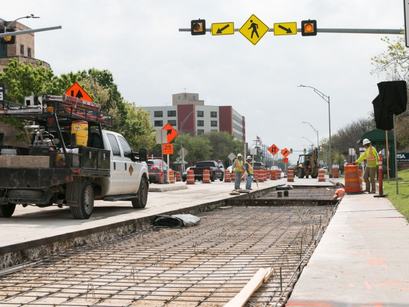 Construction overtakes the road for the 2012 bond project on Frio Street.