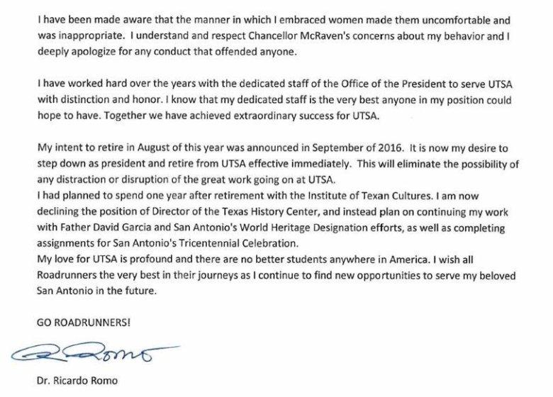 The Ricardo Romo resignation letter.