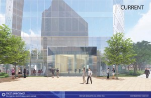 Minor changes to Frost Bank Tower's design were made to include more landscaping and texture.