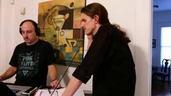 Joseph Urick working with show sound designer Charles Drew