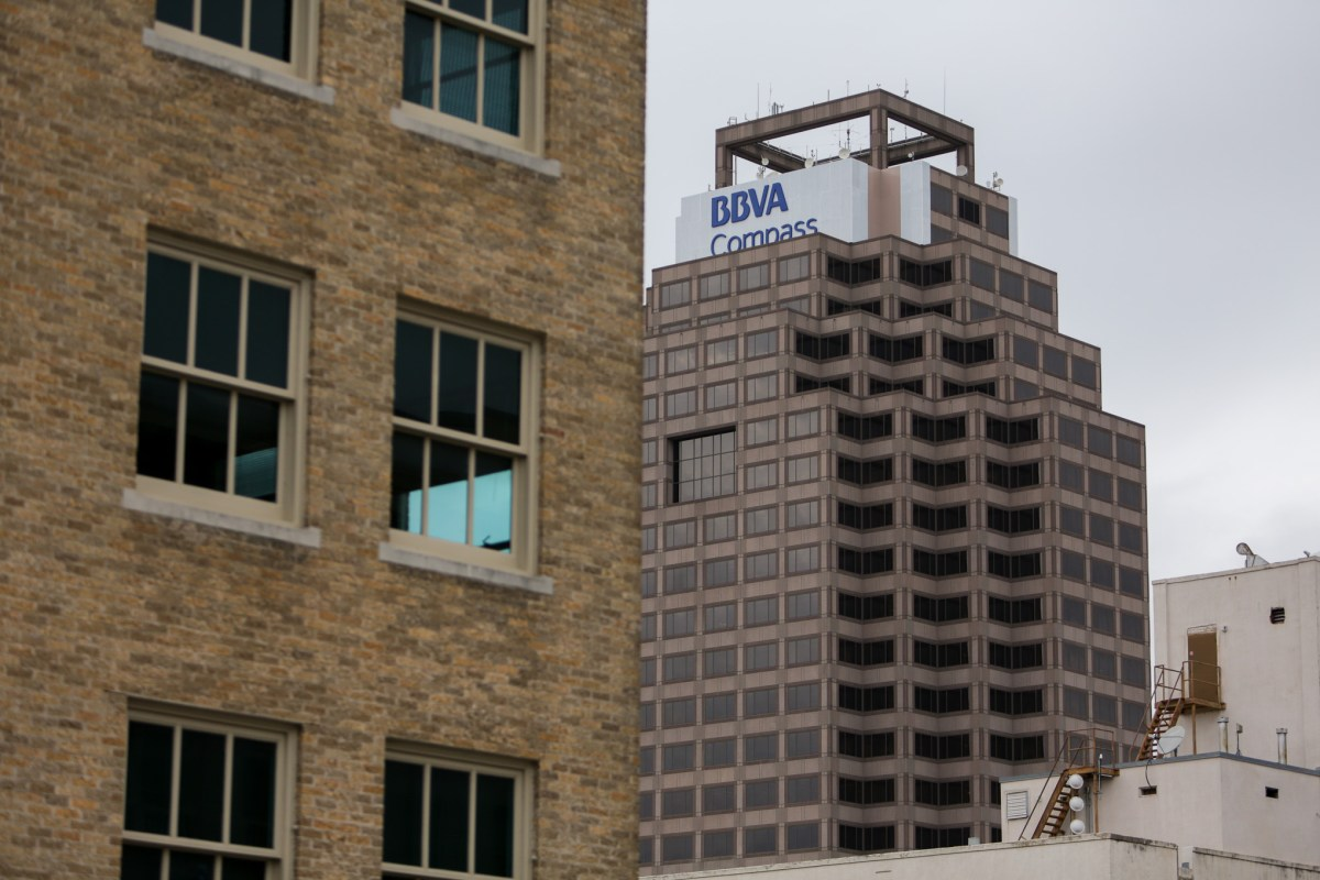 The Weston Centre features a new sign for BBVA Compass which plans to move in 70 employees starting in May.