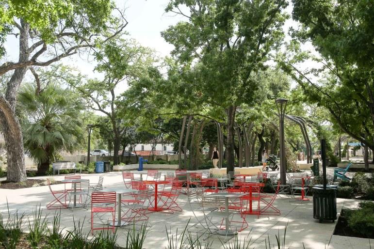 Newly installed seating area borders East Nueva Street.
