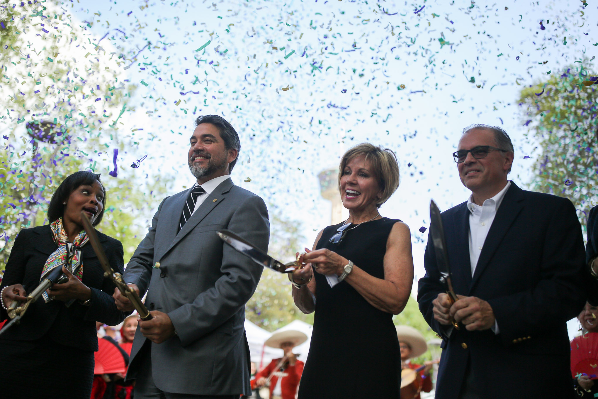 (from left) Mayor Ivy Taylor, Councilman Roberto Treviño (D1), City Manager Sheryl Sculley, and Hemisfair CEO Andres Andujar.