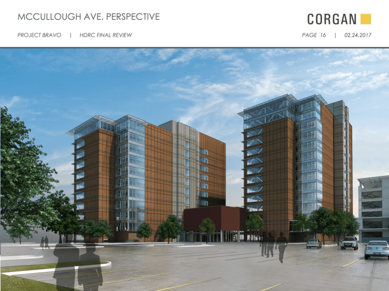 Street level view of the proposed CPS Energy Headquarters from McCullough Avenue.
