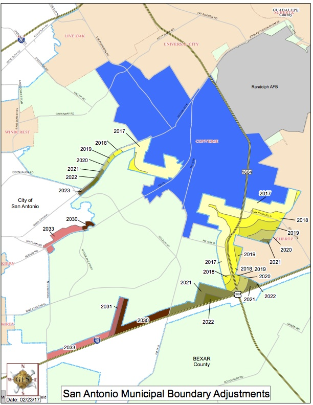 A map depicting San Antonio's boundary adjustments through 2033.