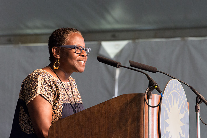 Sabrina Lynn Motley at the opening of the 2014 Folklife Festival.