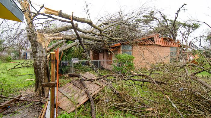 Trees and other debris came down on Spalding's home during the twister.