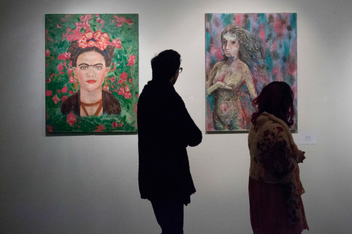 """The exhibition celebrates feminity in many ways, from a portrait of artist Frida Kahlo in """"Pasional y soñadora (Mi Frida)"""" to many representations of the female form."""