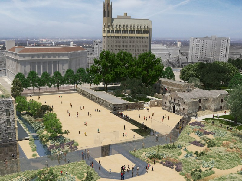 This rendering shows Alamo Plaza (looking northeast from above) during the day.