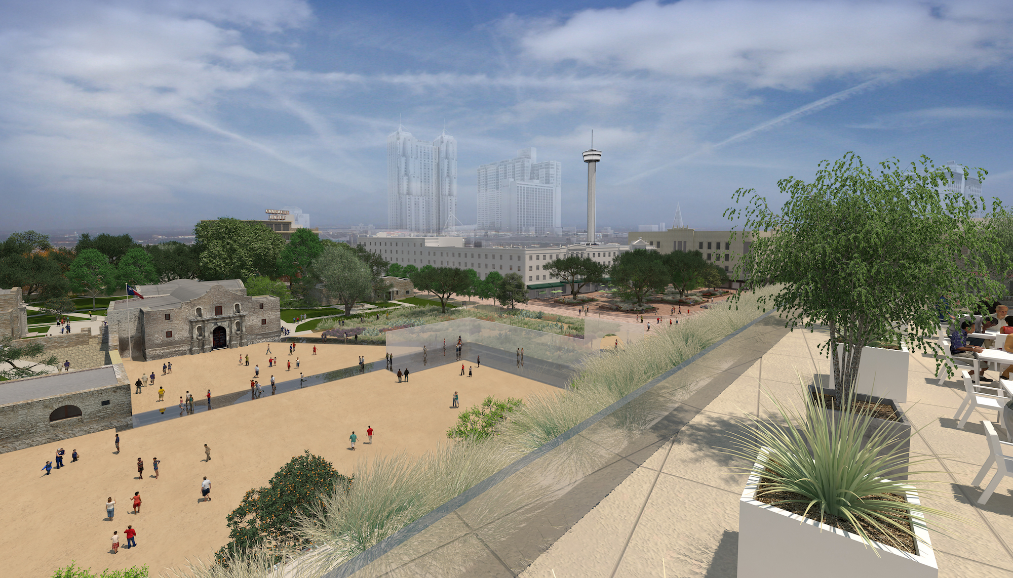 This rendering illustrates the possible view of Alamo Plaza from atop of the Crockett building, where a rooftop cafe is proposed.