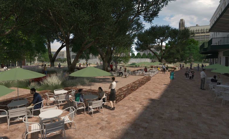 This rendering shows the possibilities for Crockett Street activation.