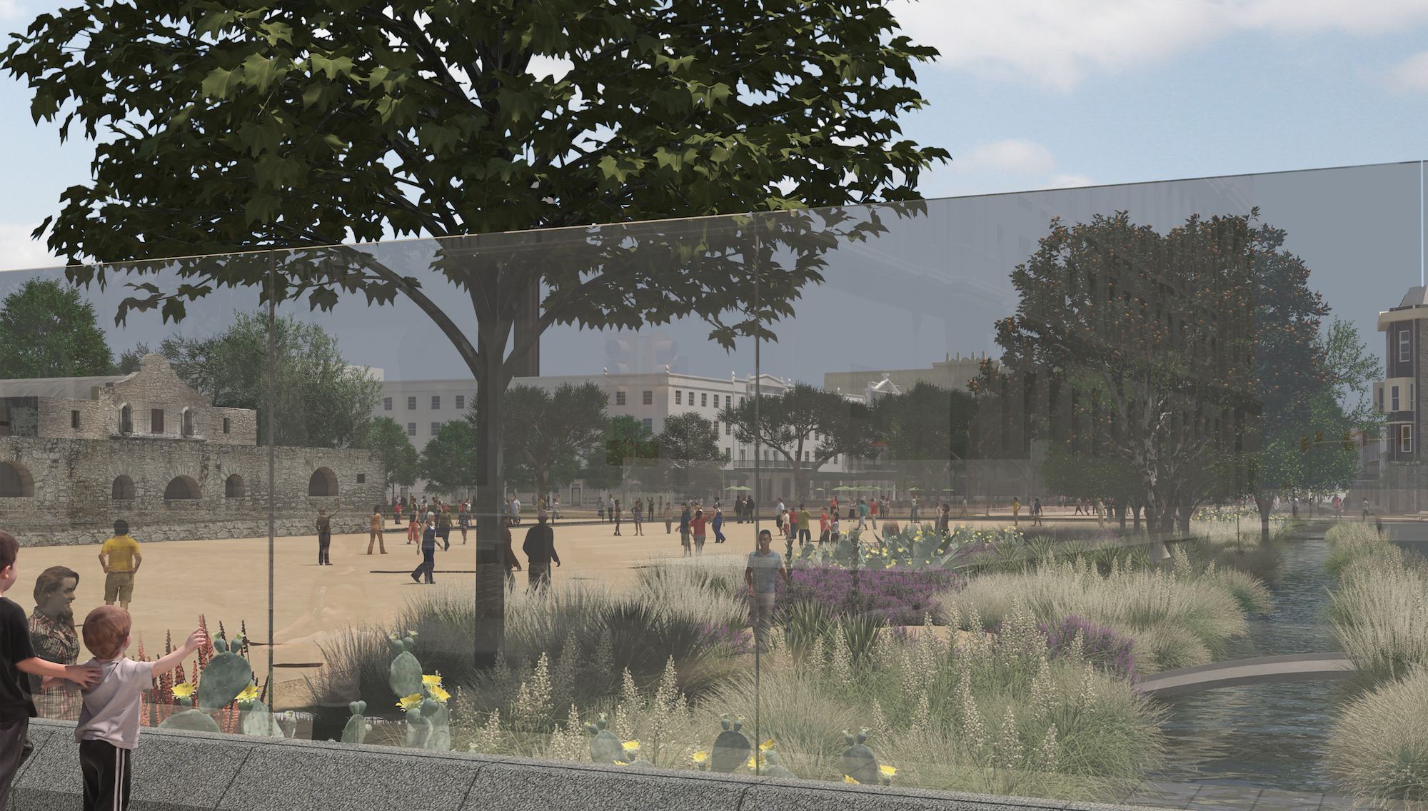 This rendering demonstrates the level of visibility designers hope to achieve at Alamo Plaza for passersby on Houston Street.