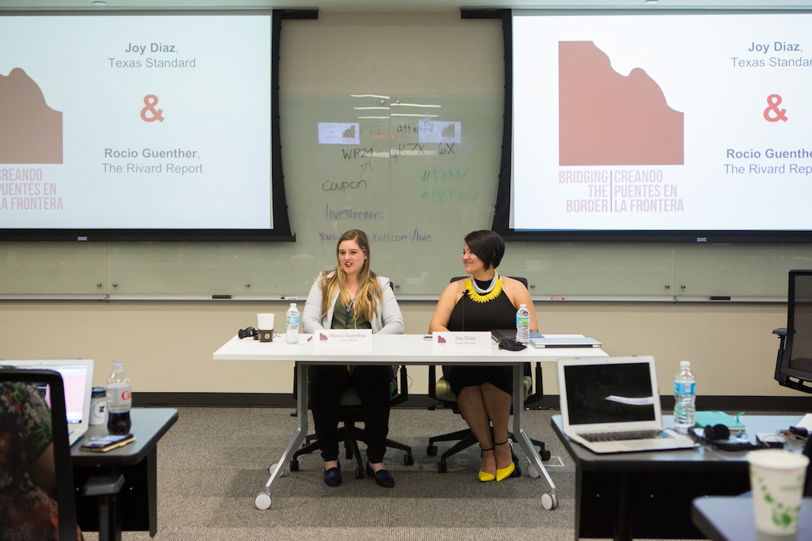 Rivard Report reporter Rocío Guenther (left) and Joy Díaz, producer at Texas Standard, discuss how being bilingual enriches your reporting as a journalist.