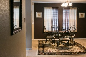 Keith Jordan's short term rental property feature a full kitchen and dining room.