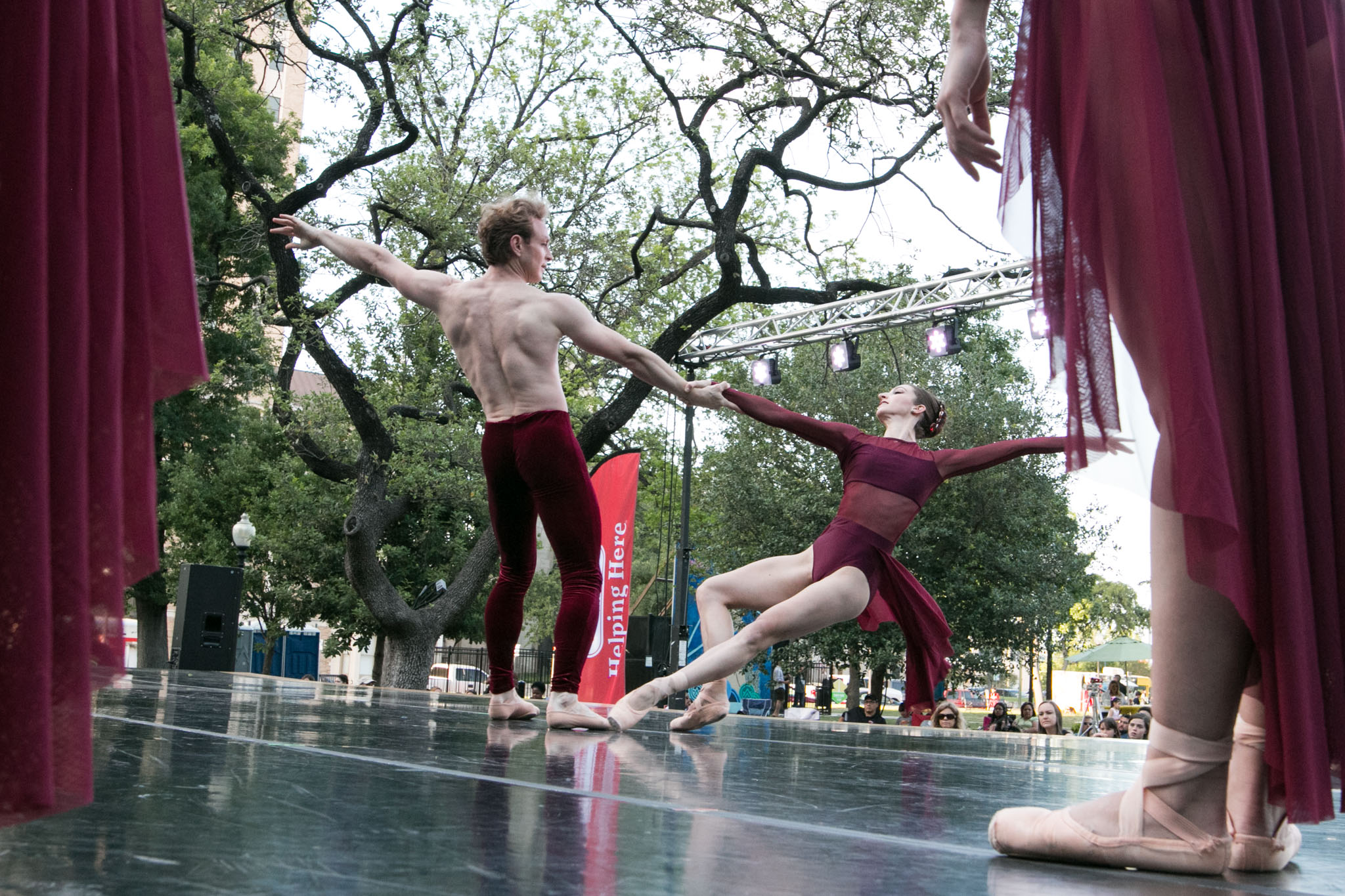 """Ballet San Antonio's Ian Morris and Sally Turkel dance to """"Elements"""" at Ballet in the Park."""