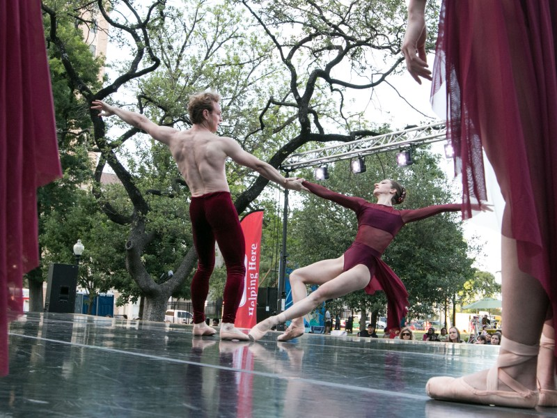 "Ballet San Antonio's Ian Morris and Sally Turkel dance to ""Elements"" at Ballet in the Park."