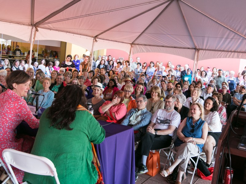 Writer Ann Patchett speaks with her good friend and moderator writer Elizabeth McCracken in front of a large crowd at the San Antonio Book Festival.