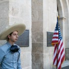 San Antonio Charro Luis Parra waits for the crowning of El 69th Rey Feo Fred Reyes to begin.