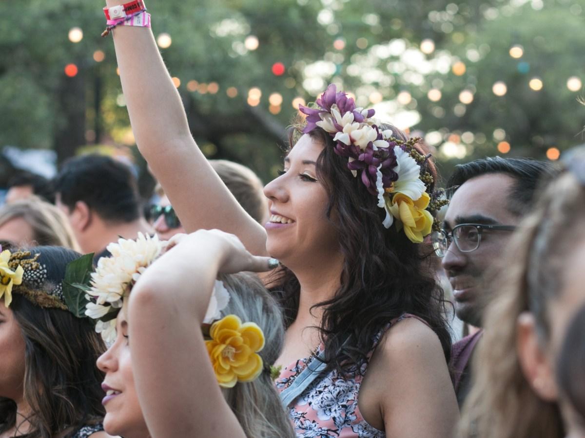 Abby Fernandez dances to the music during Maverick Music Festival.