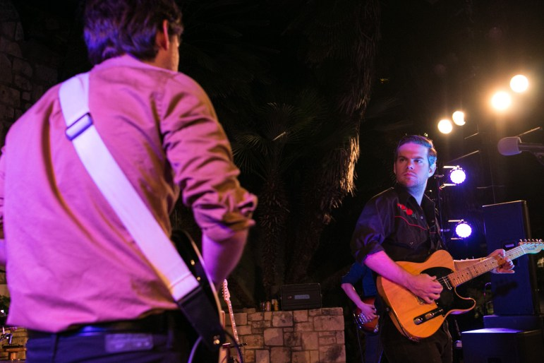 (From left) Kyle Anderson and Kody Anderson of The Levees perform at the Arneson River Theatre during the Maverick Music Festival.