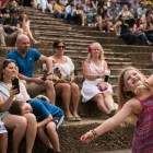 Sophie, 5, (right) dances in front of her family at the Arneson River Theatre during NIOSA.